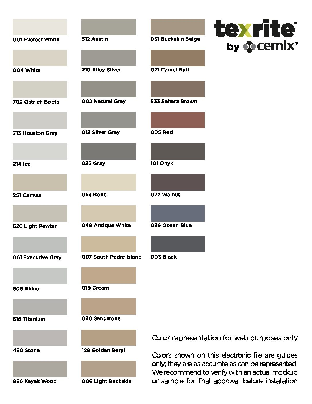 Texrite Grout Colors 2021